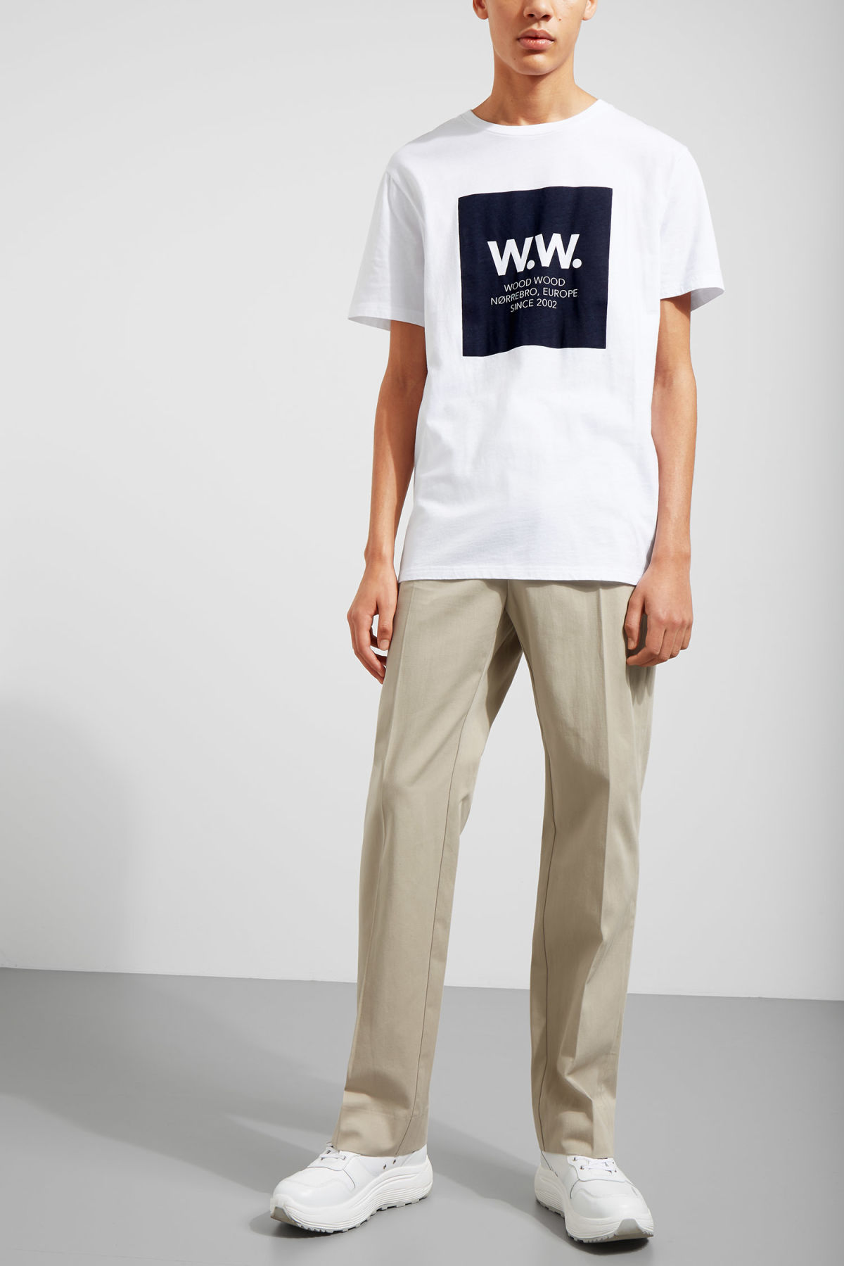 Model side image of Weekday the square t-shirt in white