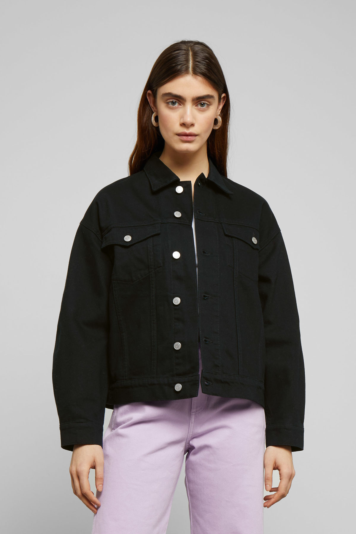Model front image of Weekday dune black jacket in black