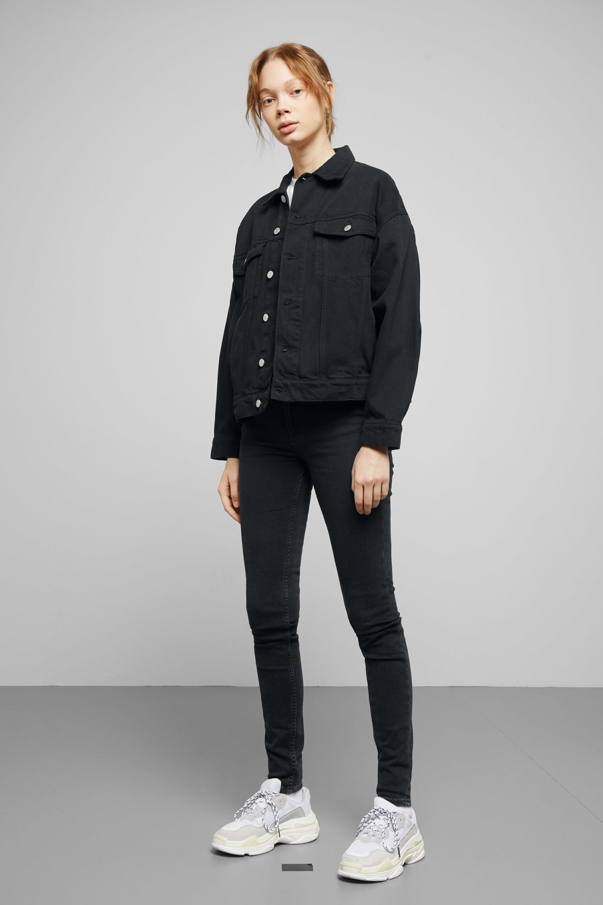 Model side image of Weekday dune black jacket in black
