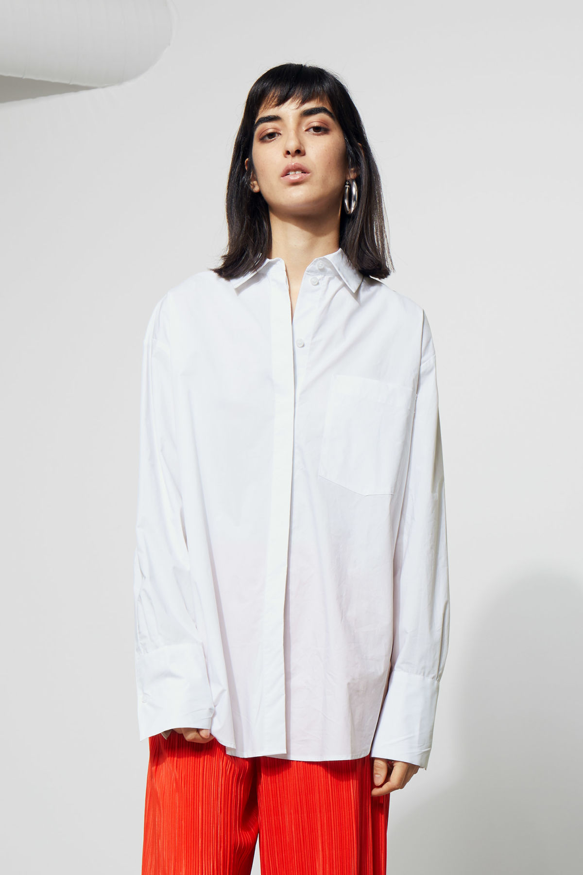 Model front image of Weekday format shirt  in white