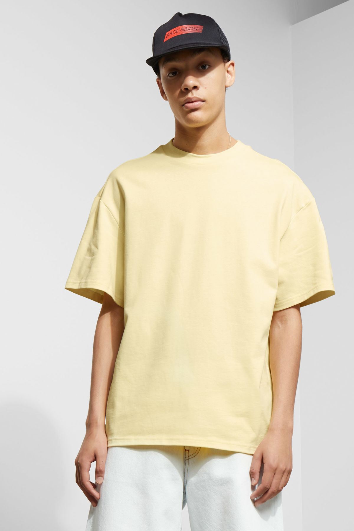 Model front image of Weekday great t-shirt in yellow