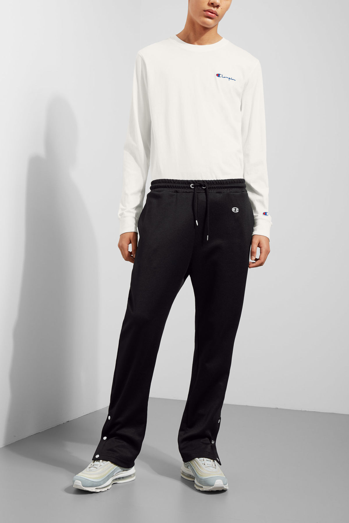 Model front image of Weekday step sweatpants  in black