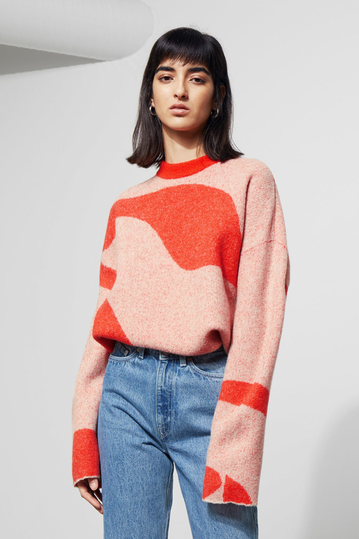 Model front image of Weekday manama printed sweater  in orange