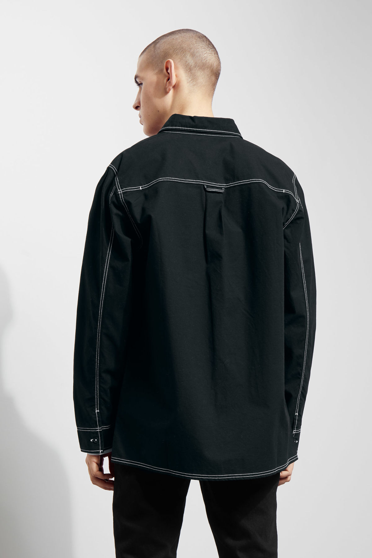 Model back image of Weekday deft shirt in black