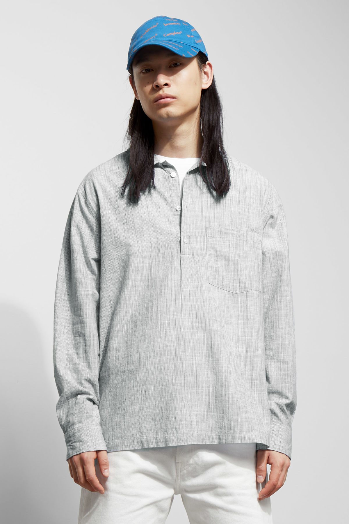 Model front image of Weekday vito striped shirt in white