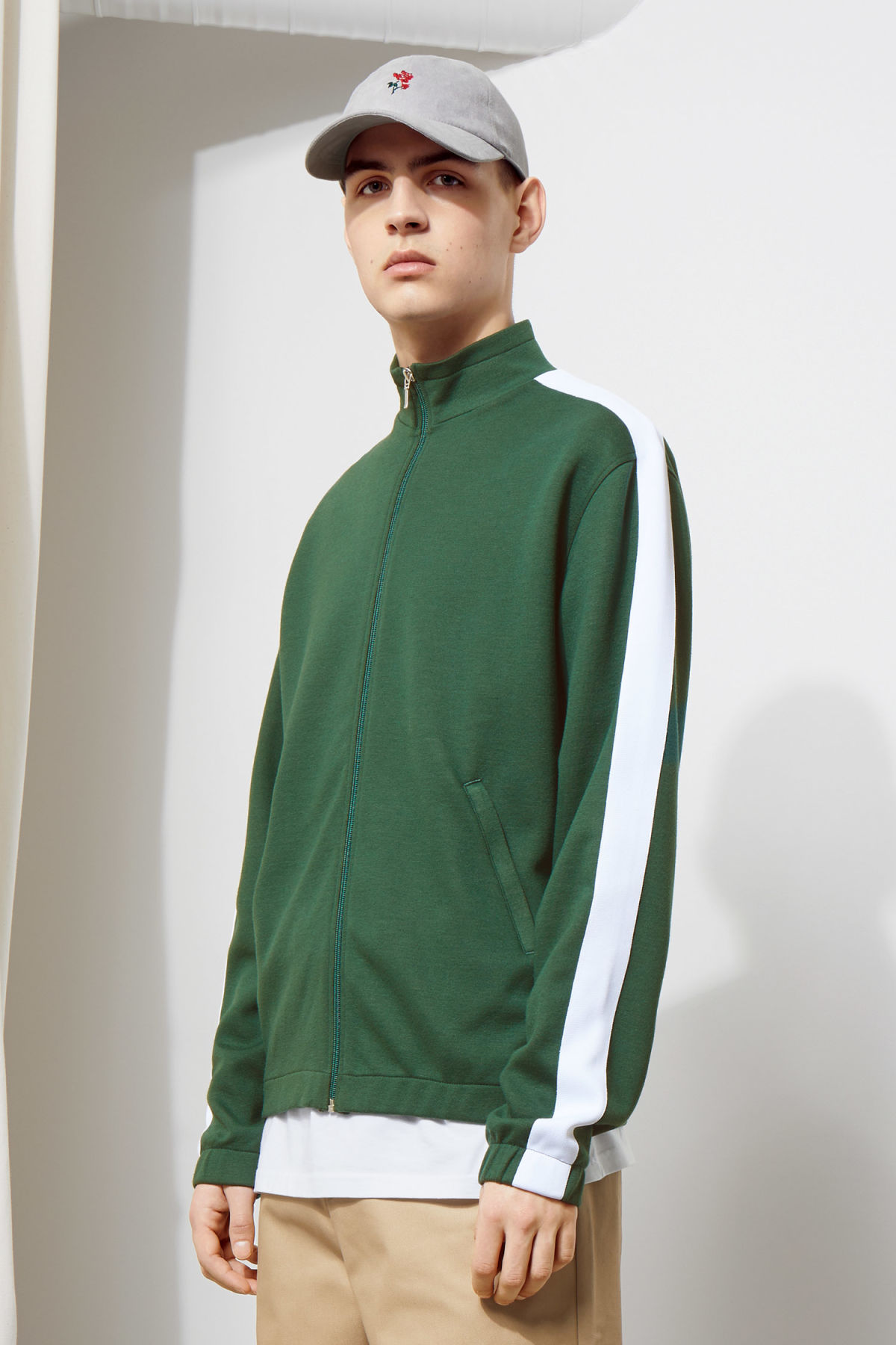 Model front image of Weekday track sweatshirt  in green