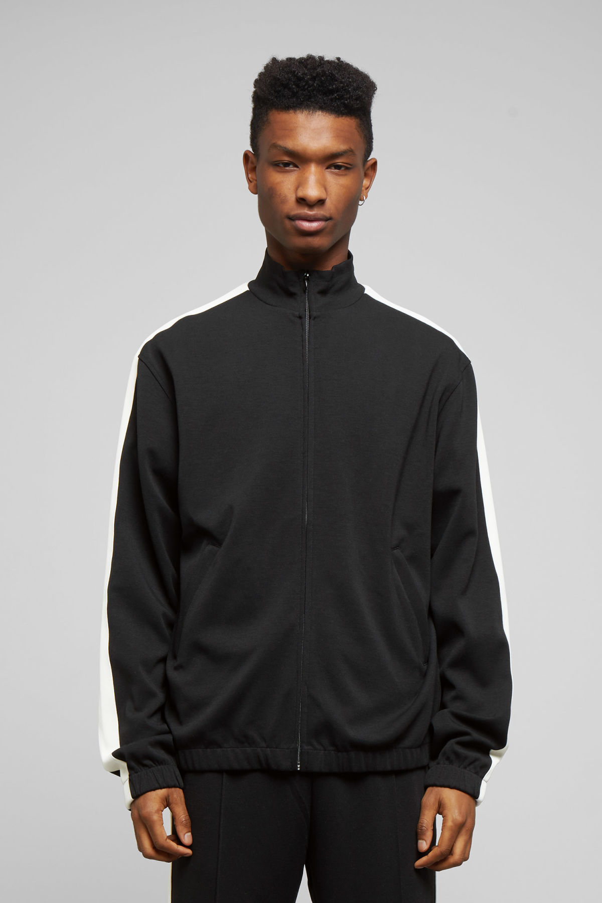 Model front image of Weekday track sweatshirt  in black