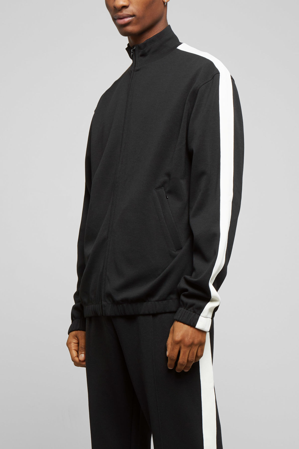 Model back image of Weekday track sweatshirt  in black