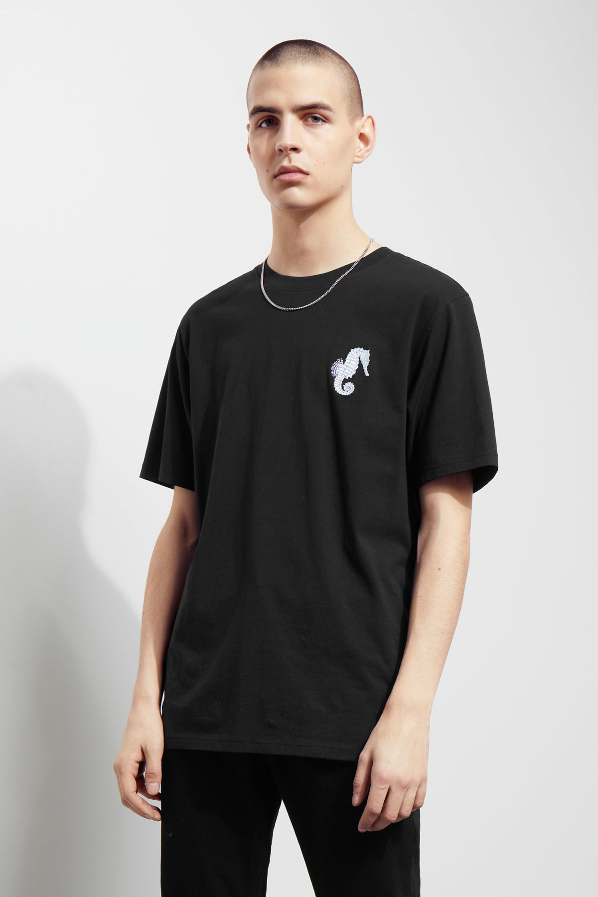 Model front image of Weekday frank seahorse t-shirt in black