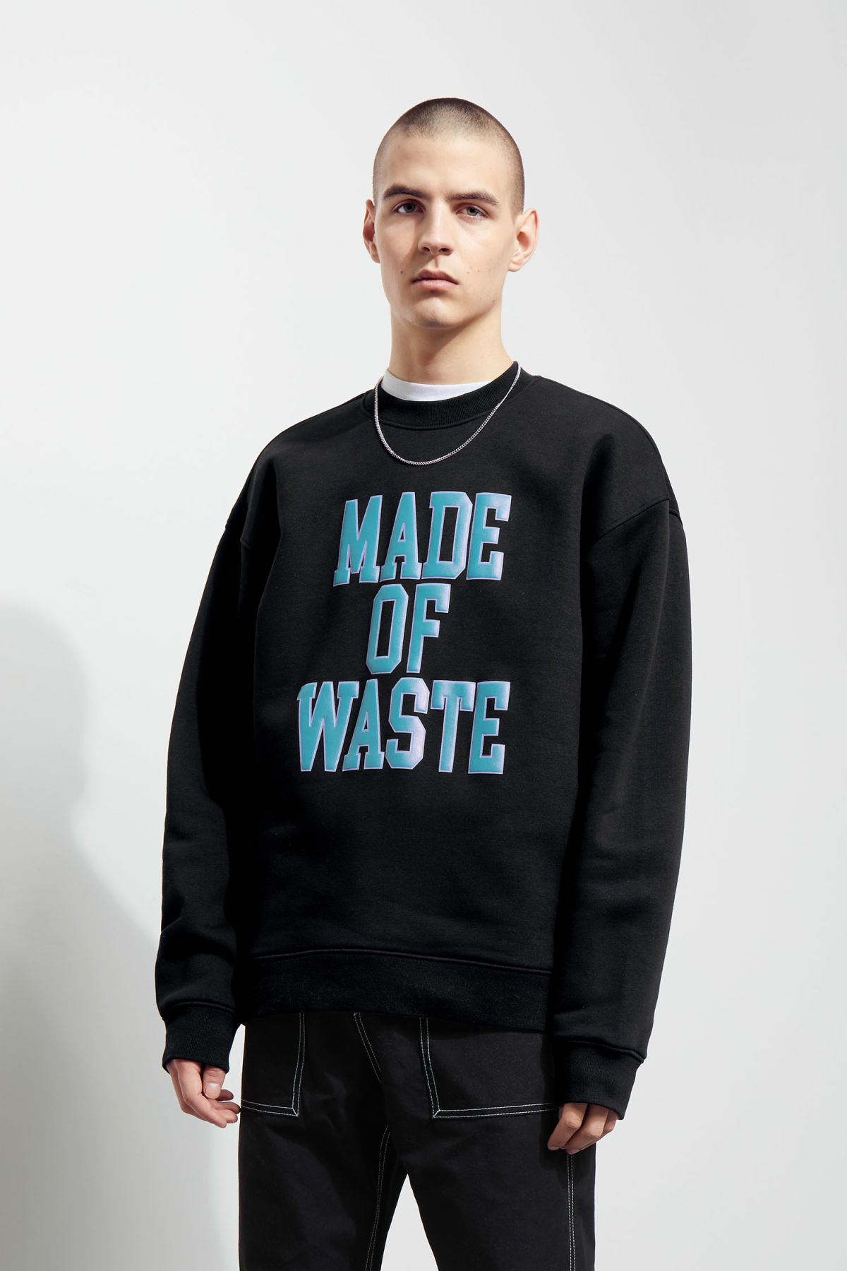 Model front image of Weekday big steve waste sweatshirt  in black