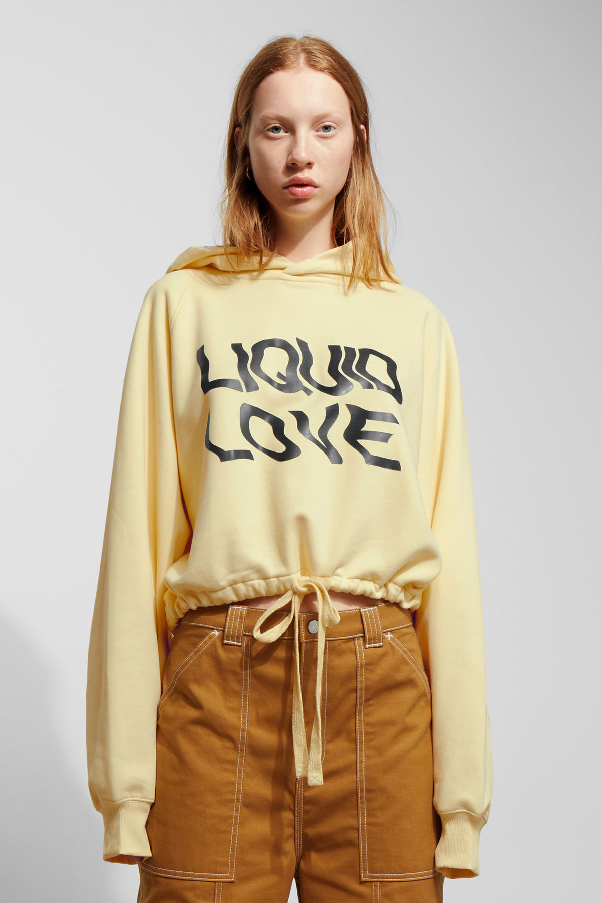 Model front image of Weekday center sweatshirt  in yellow