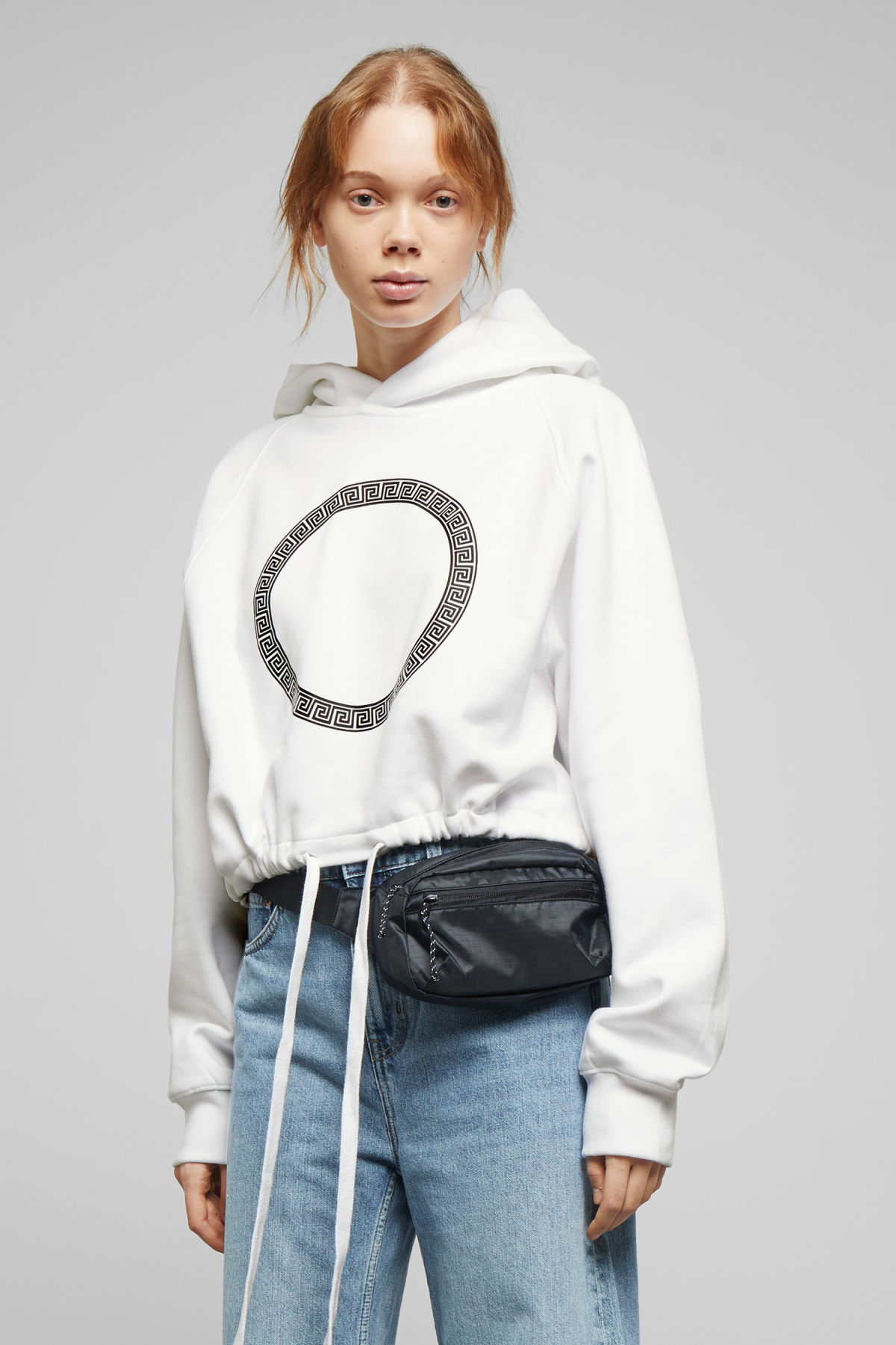 Model front image of Weekday center sweatshirt  in white