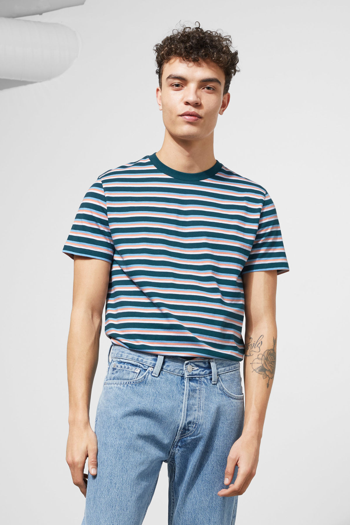 Model front image of Weekday alan stripe t-shirt in turquoise