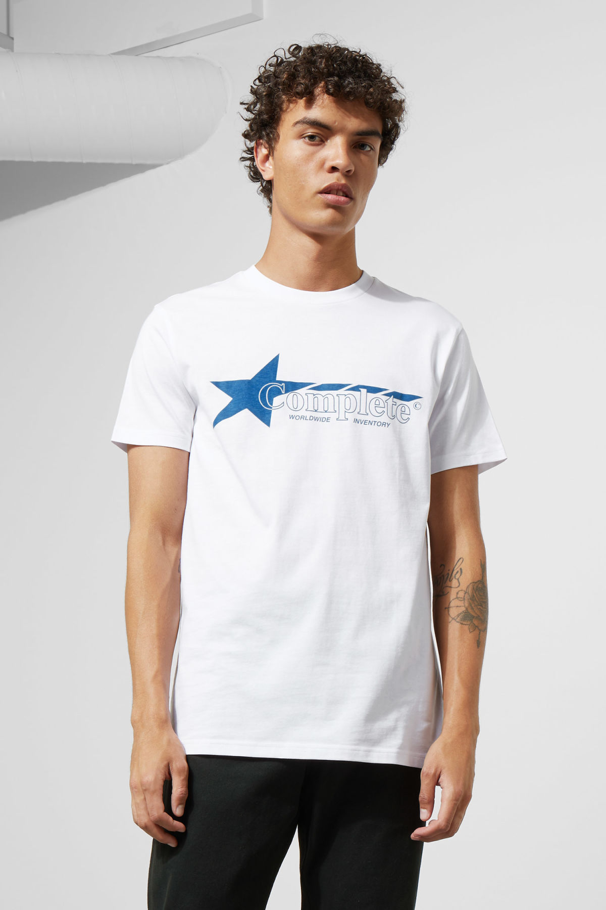 Model front image of Weekday alan cwi t-shirt in white