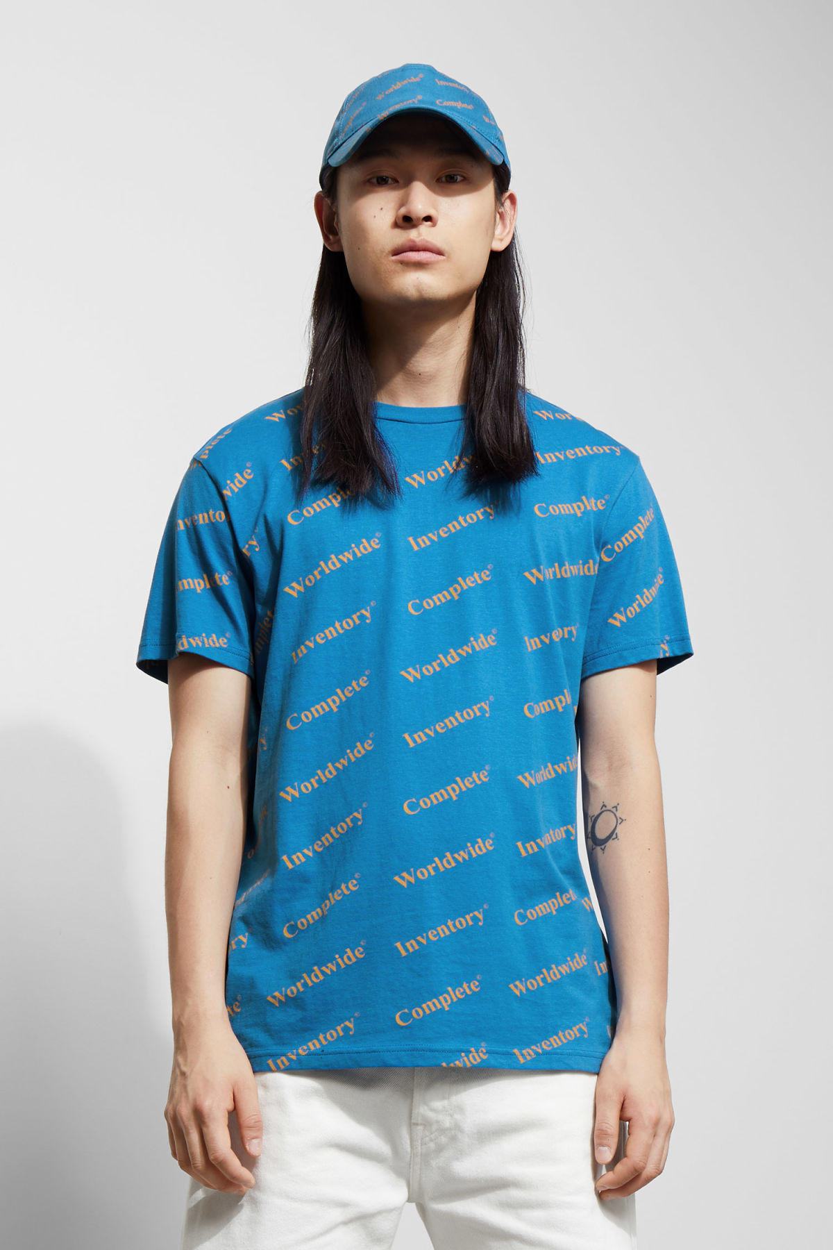 Model front image of Weekday alan complete t-shirt in blue
