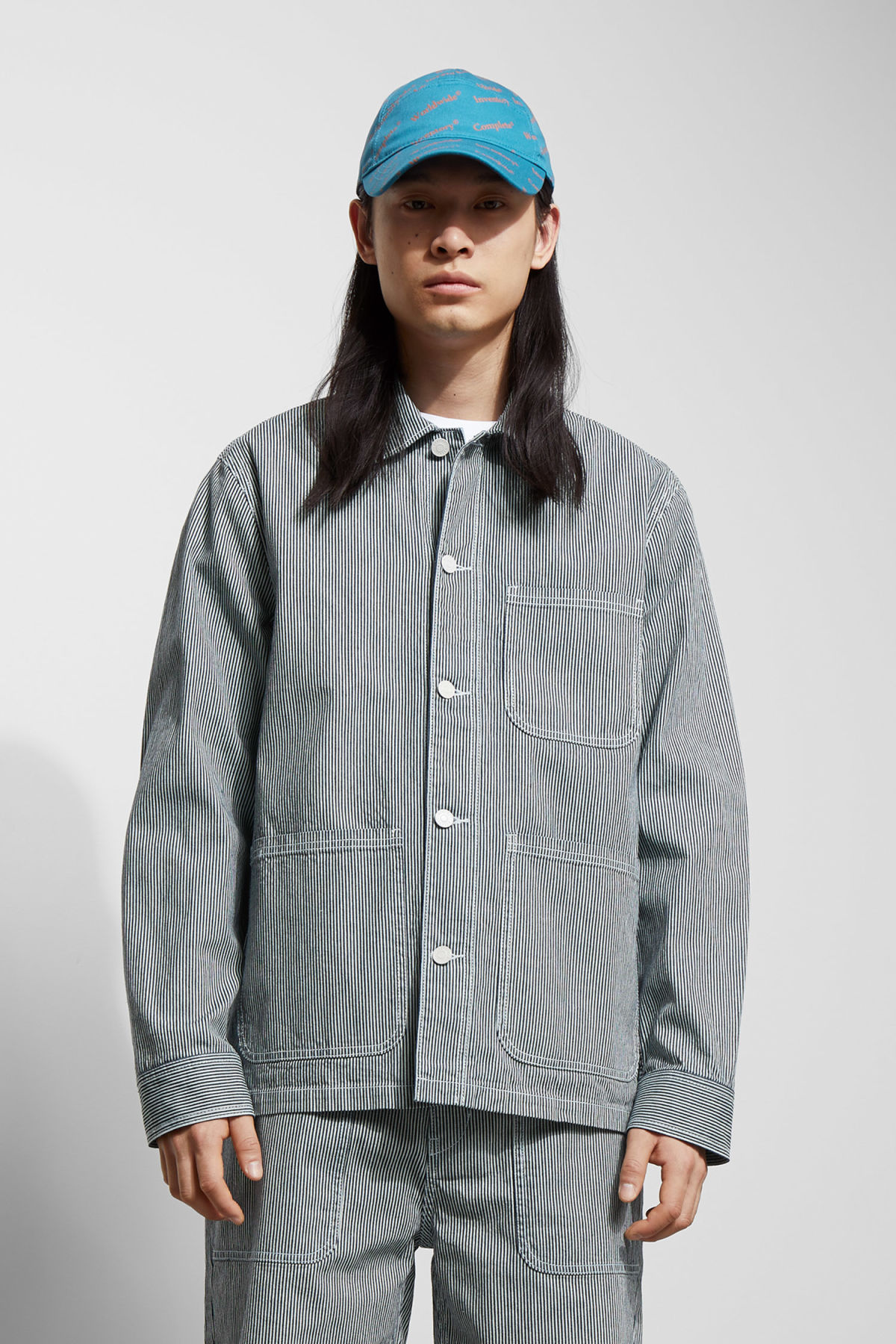 Model front image of Weekday josh jacket in blue