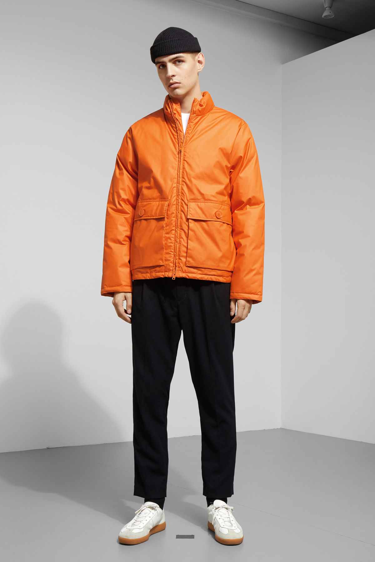 Model side image of Weekday jimmy jacket in orange