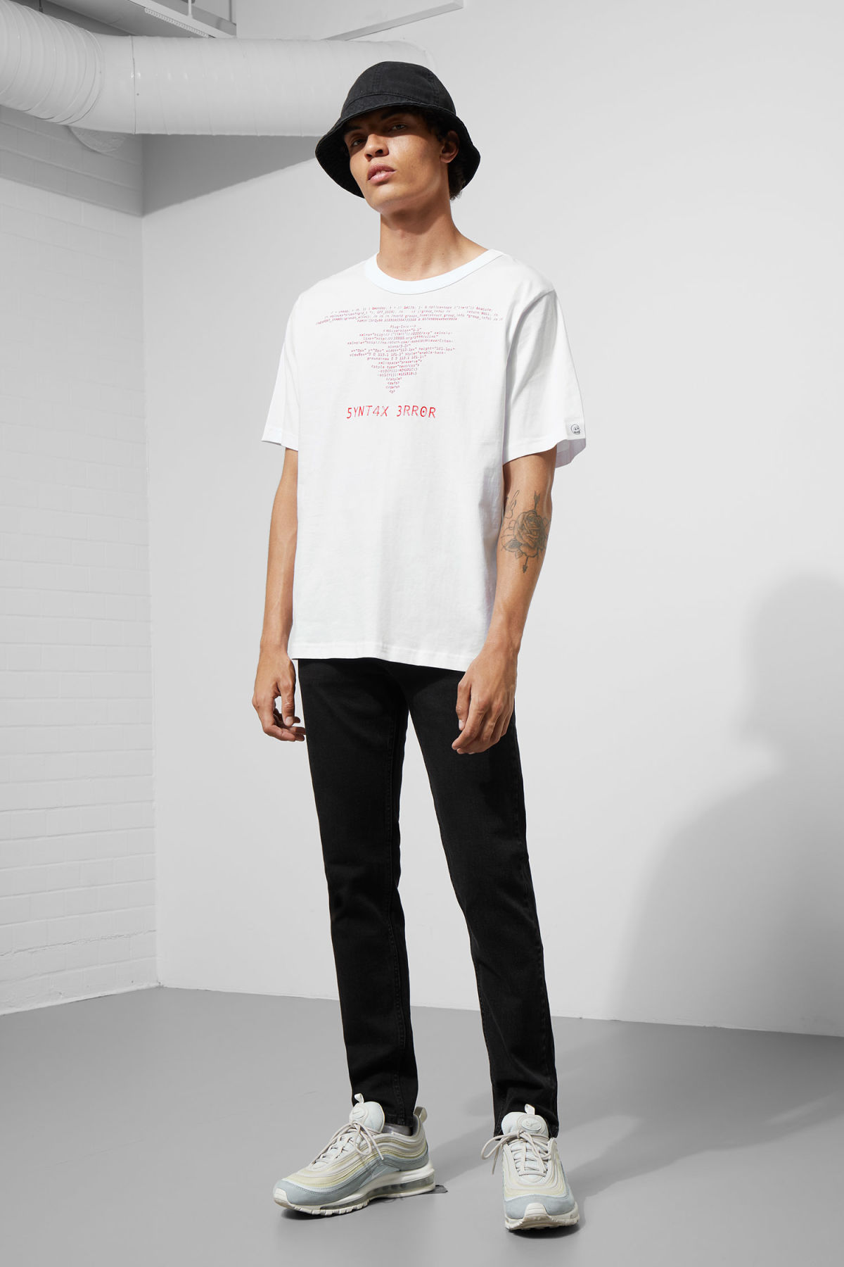 Model side image of Weekday boxer program error tee in white