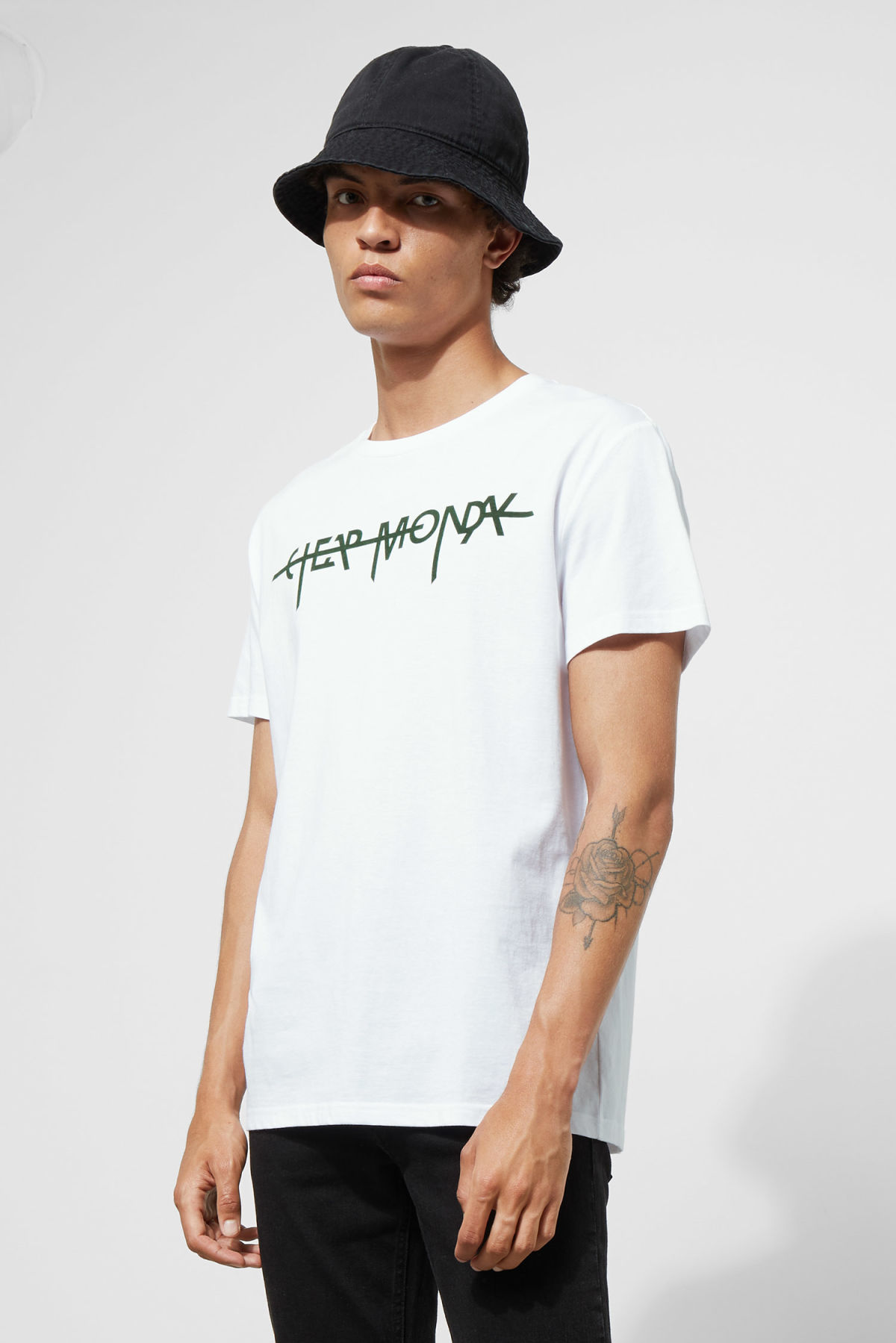 Model front image of Weekday standard hacker logo tee in white