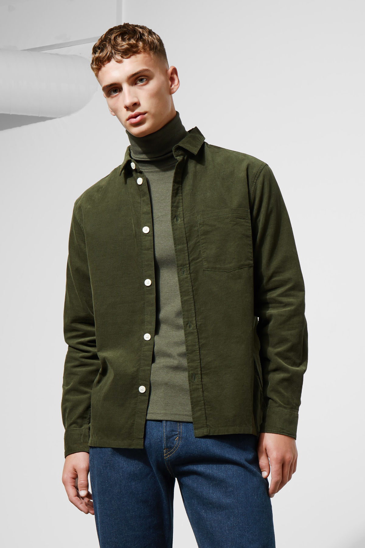 Model front image of Weekday wise cord shirt in green