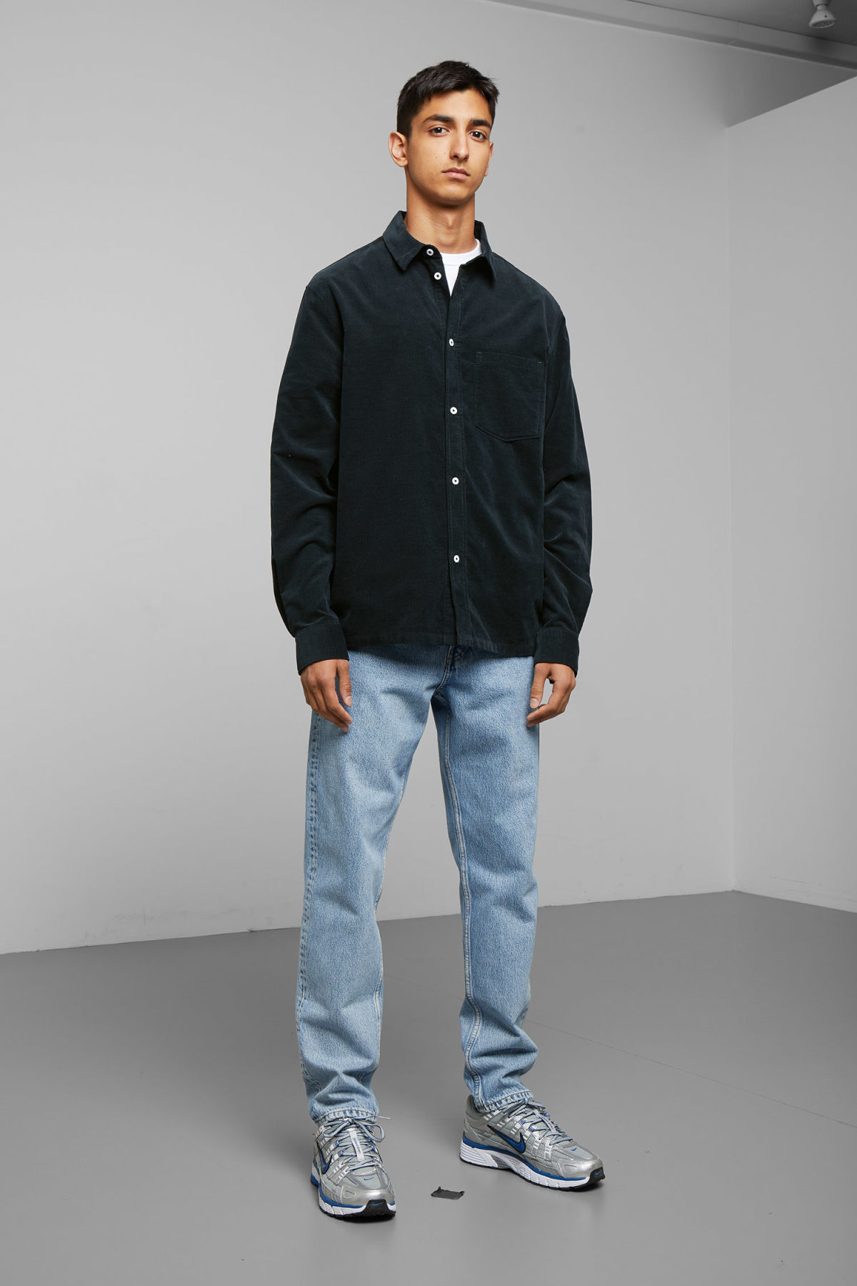 Model front image of Weekday wise cord shirt in blue
