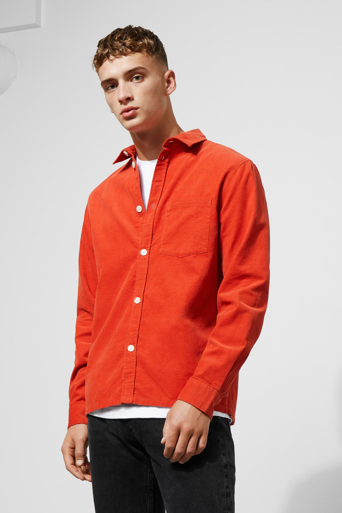 Model front image of Weekday wise cord shirt in orange