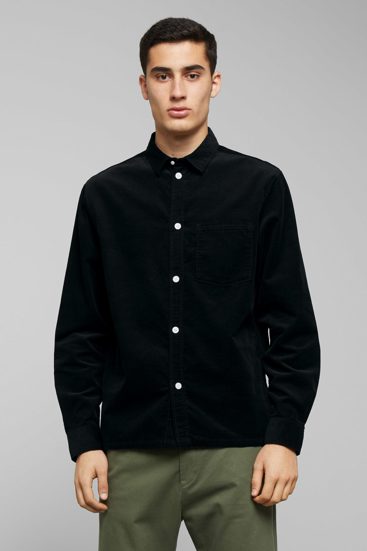 Model front image of Weekday wise cord shirt in black