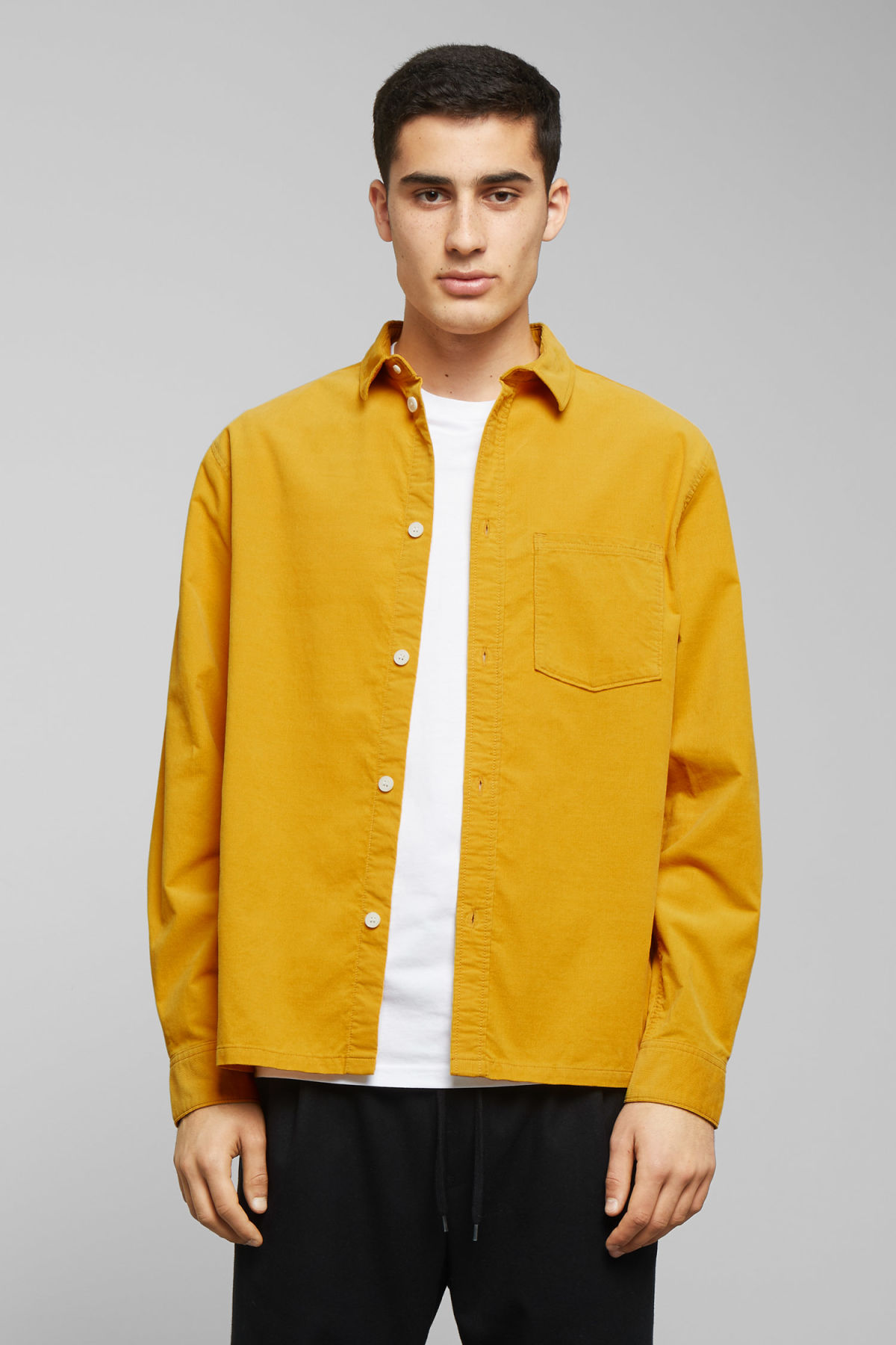 Model front image of Weekday wise cord shirt in yellow