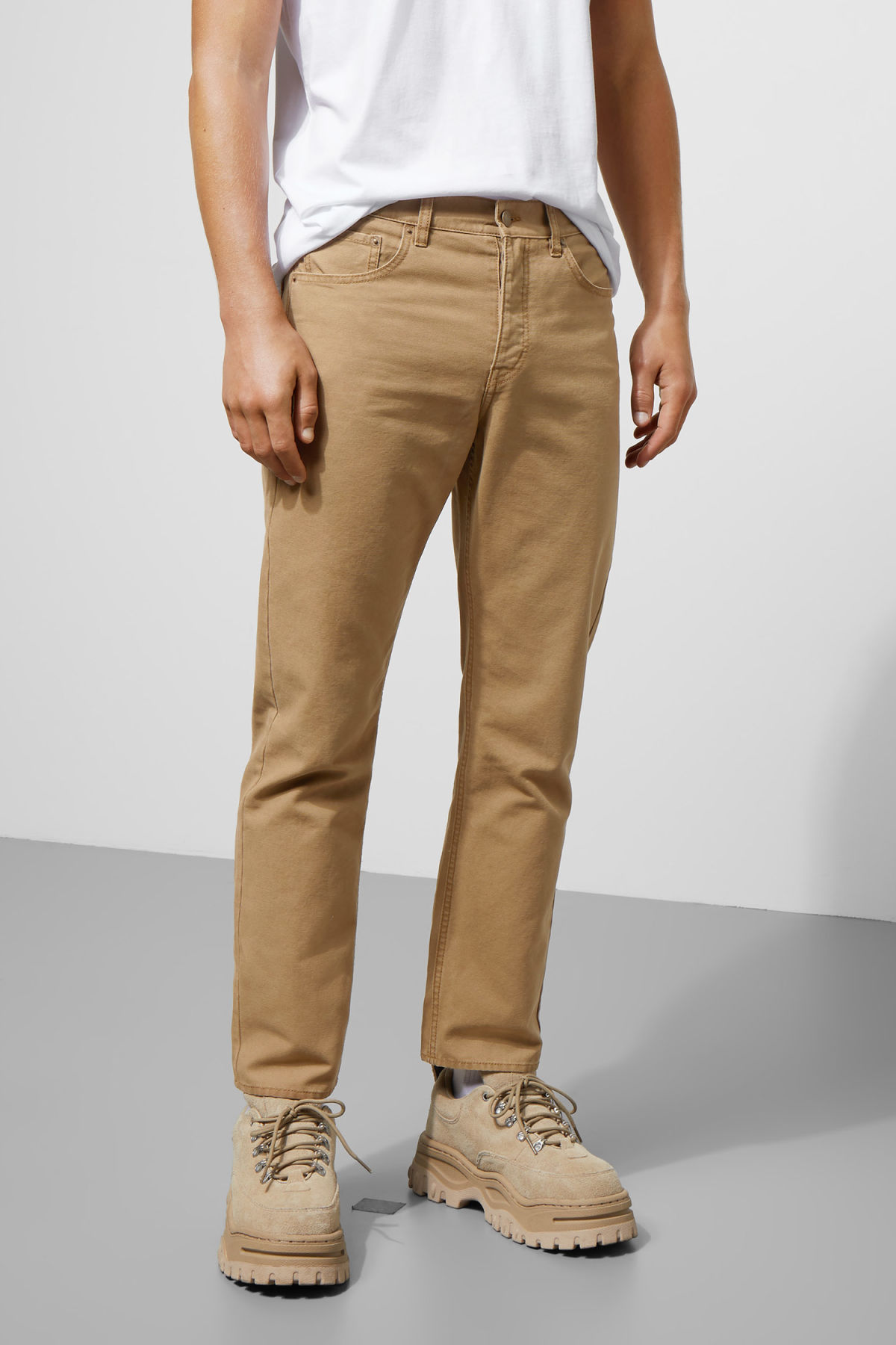 Model side image of Weekday vacant cropped canvas trousers in beige