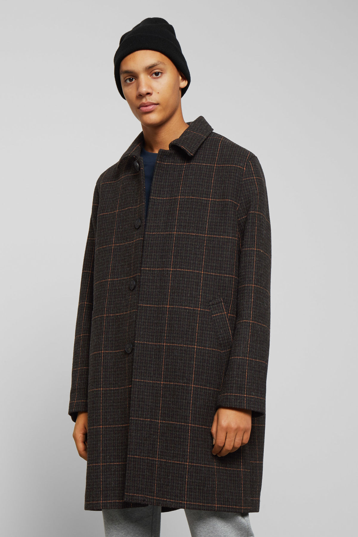 Model front image of Weekday carver checked coat in black