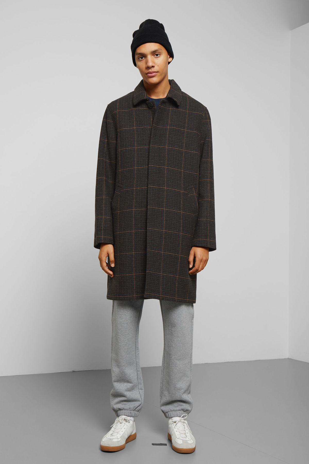Model back image of Weekday carver checked coat in black