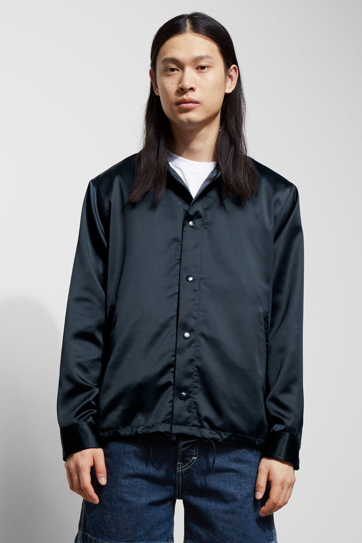 Model front image of Weekday rick coach jacket in blue