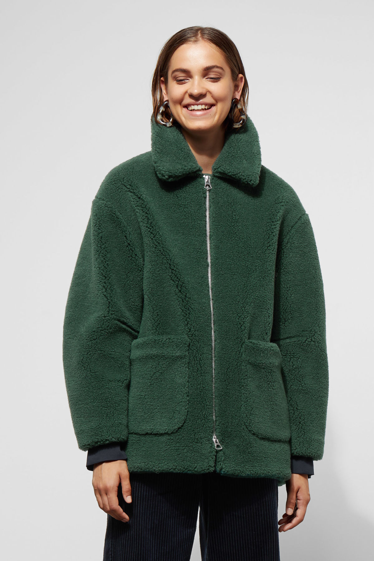 Model front image of Weekday felice jacket in green