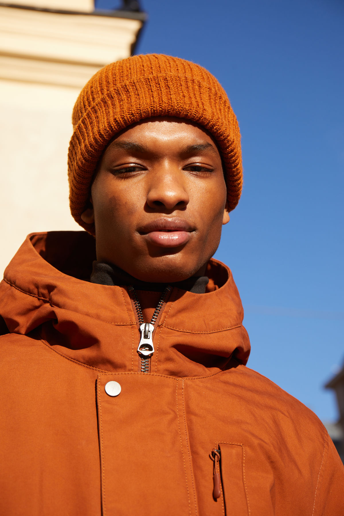 Model front image of Weekday otis beanie in orange