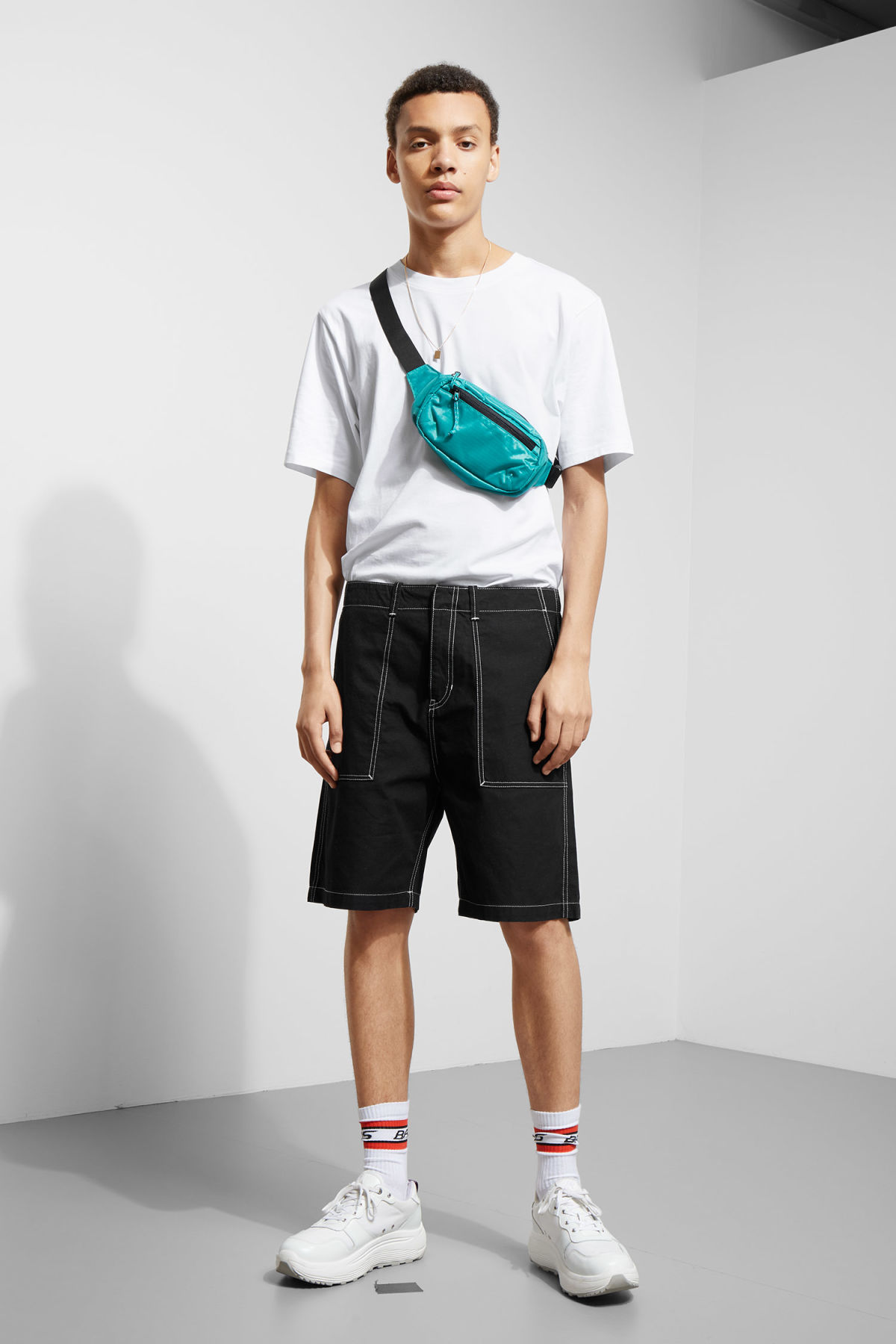 Model front image of Weekday eastside shorts in black