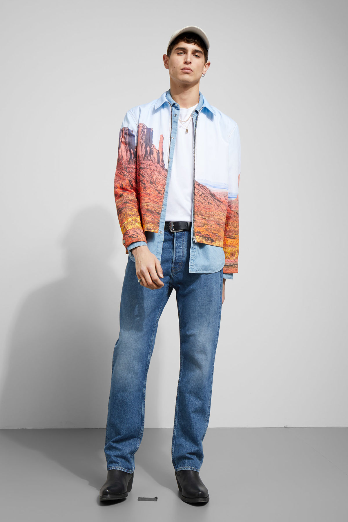 Model side image of Weekday fritz nevada jacket in blue