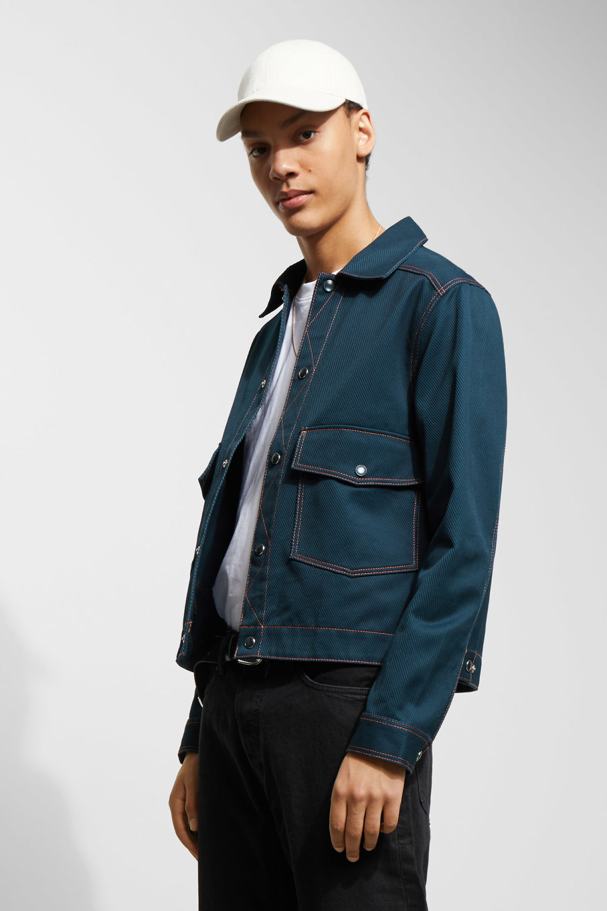 Model front image of Weekday cobra jacket in blue