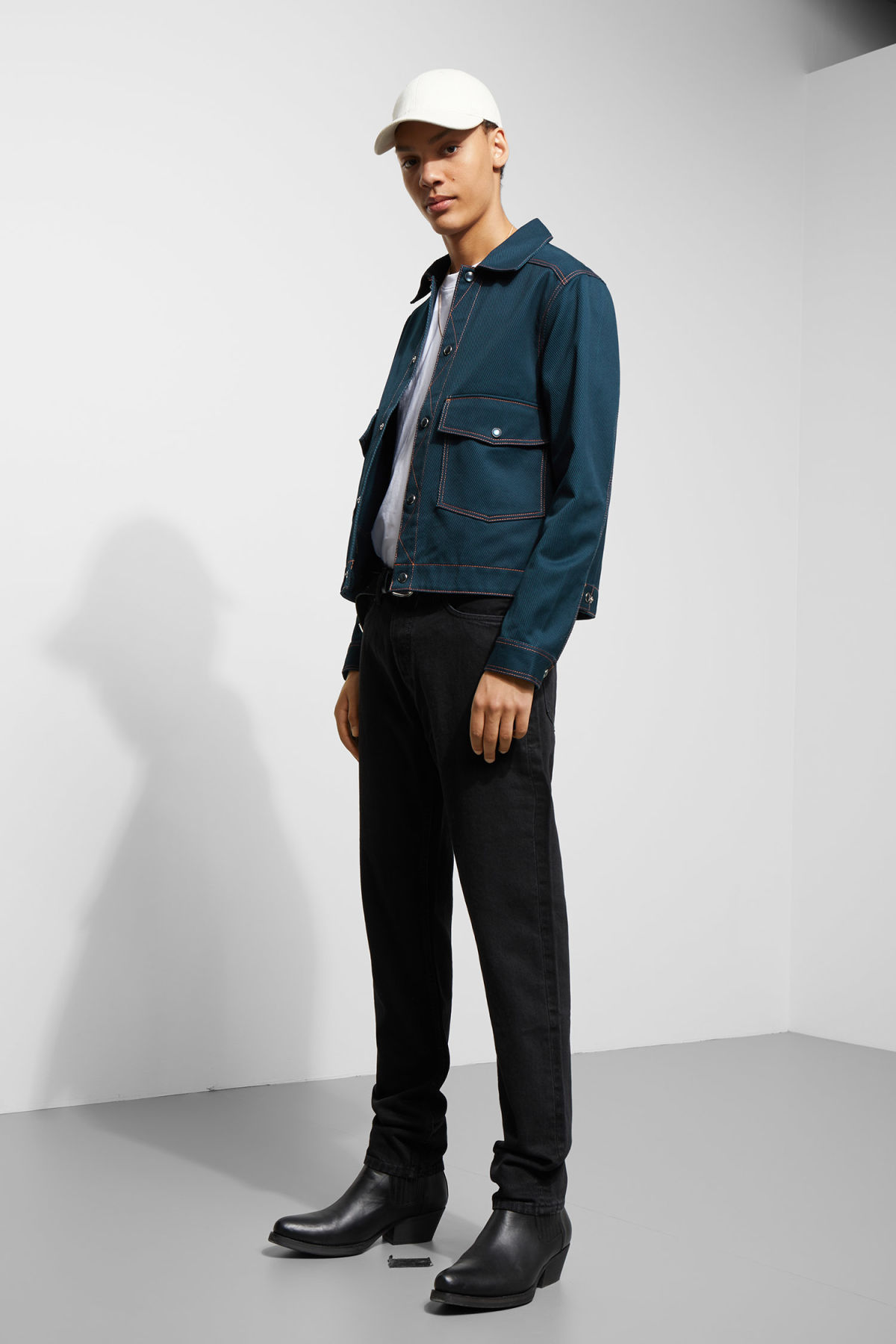 Model side image of Weekday cobra jacket in blue
