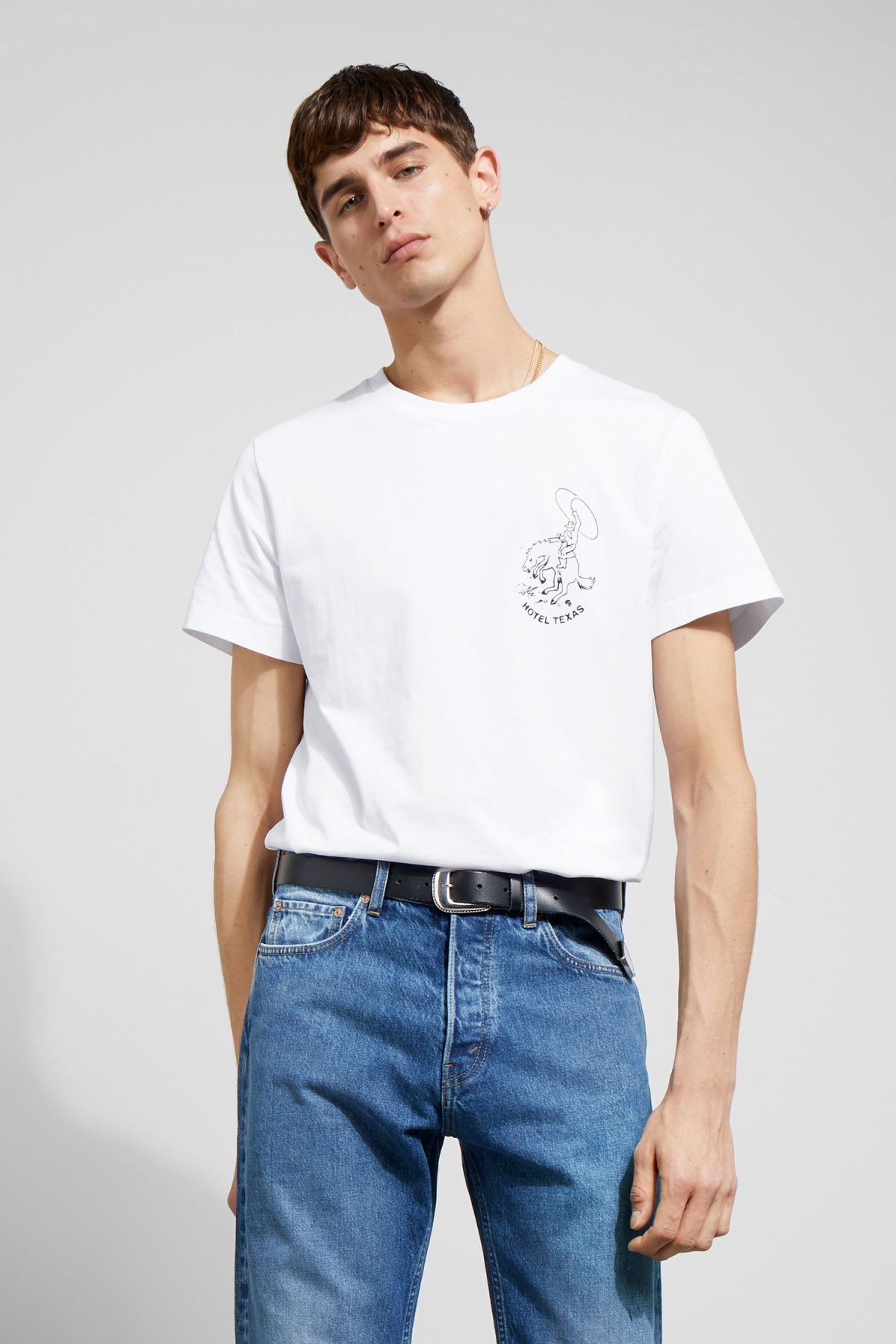 Model front image of Weekday pictor texas t-shirt in white