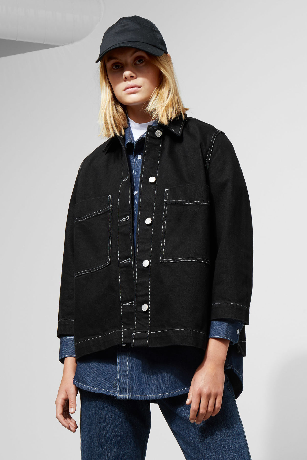 Model front image of Weekday trip black denim jacket in black