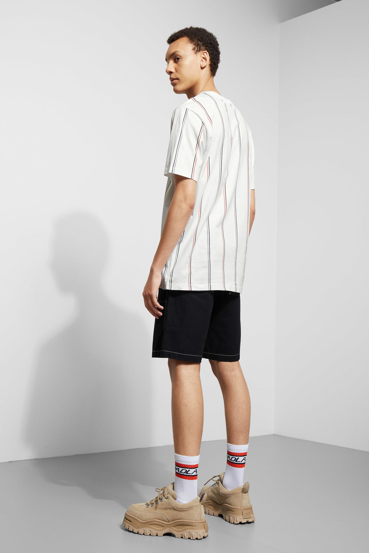 Model back image of Weekday frank vertical t-shirt in white