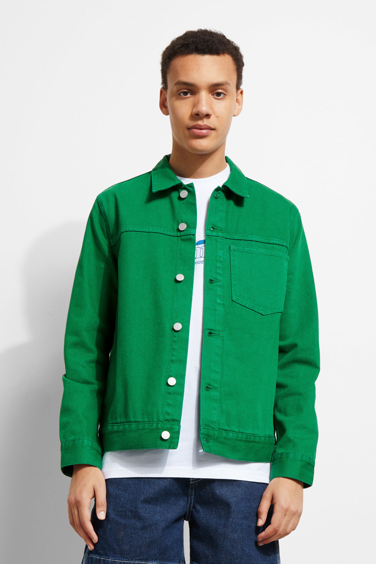 Model front image of Weekday core green jacket in green