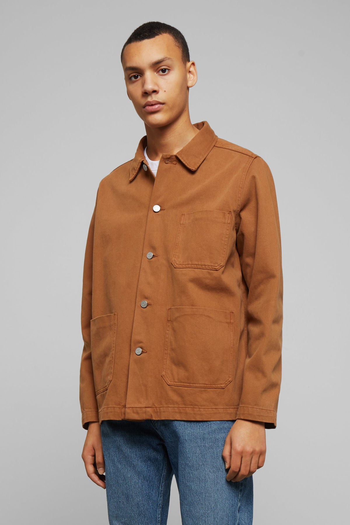 Model front image of Weekday generic tobacco jacket  in orange