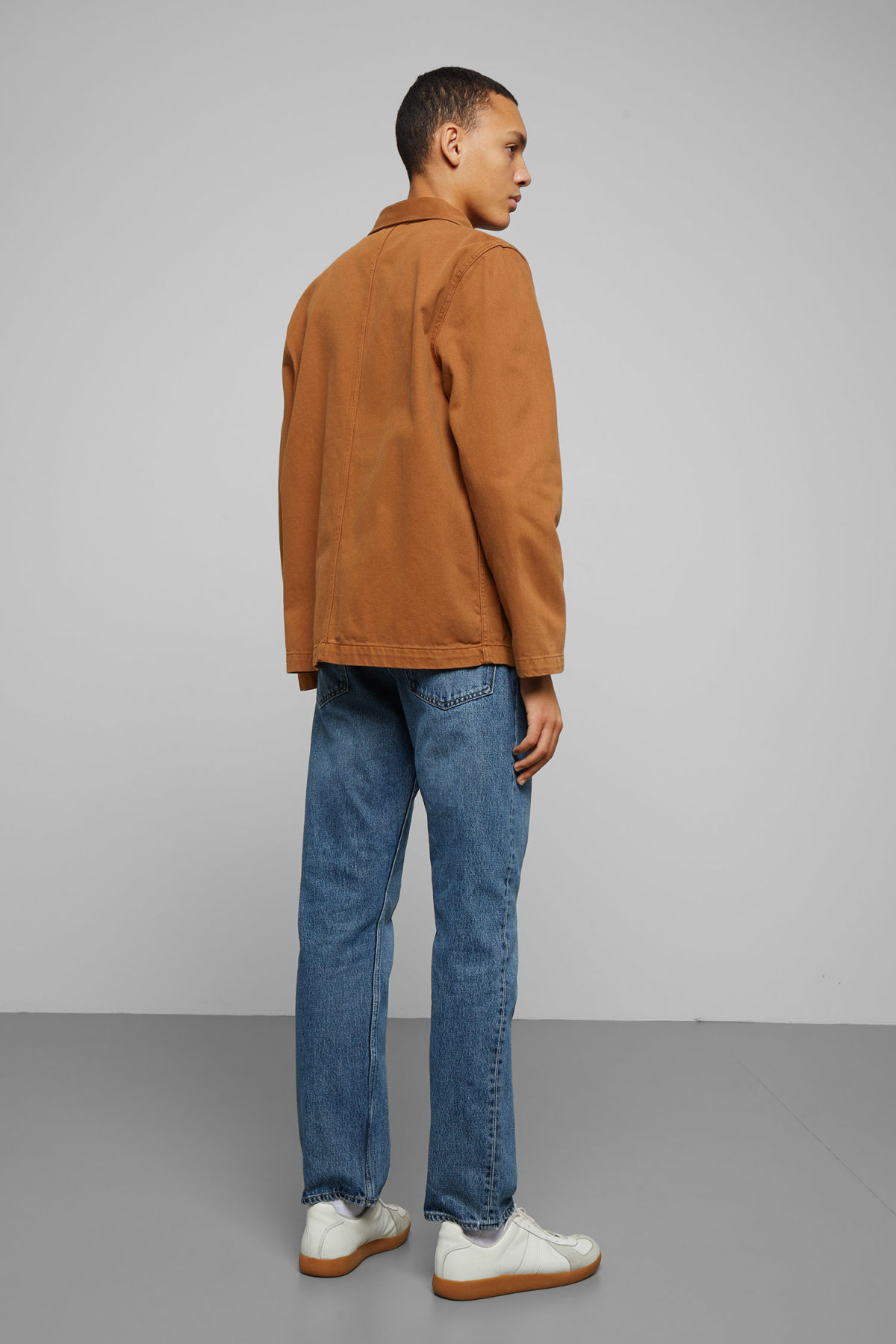 Model back image of Weekday generic tobacco jacket  in orange