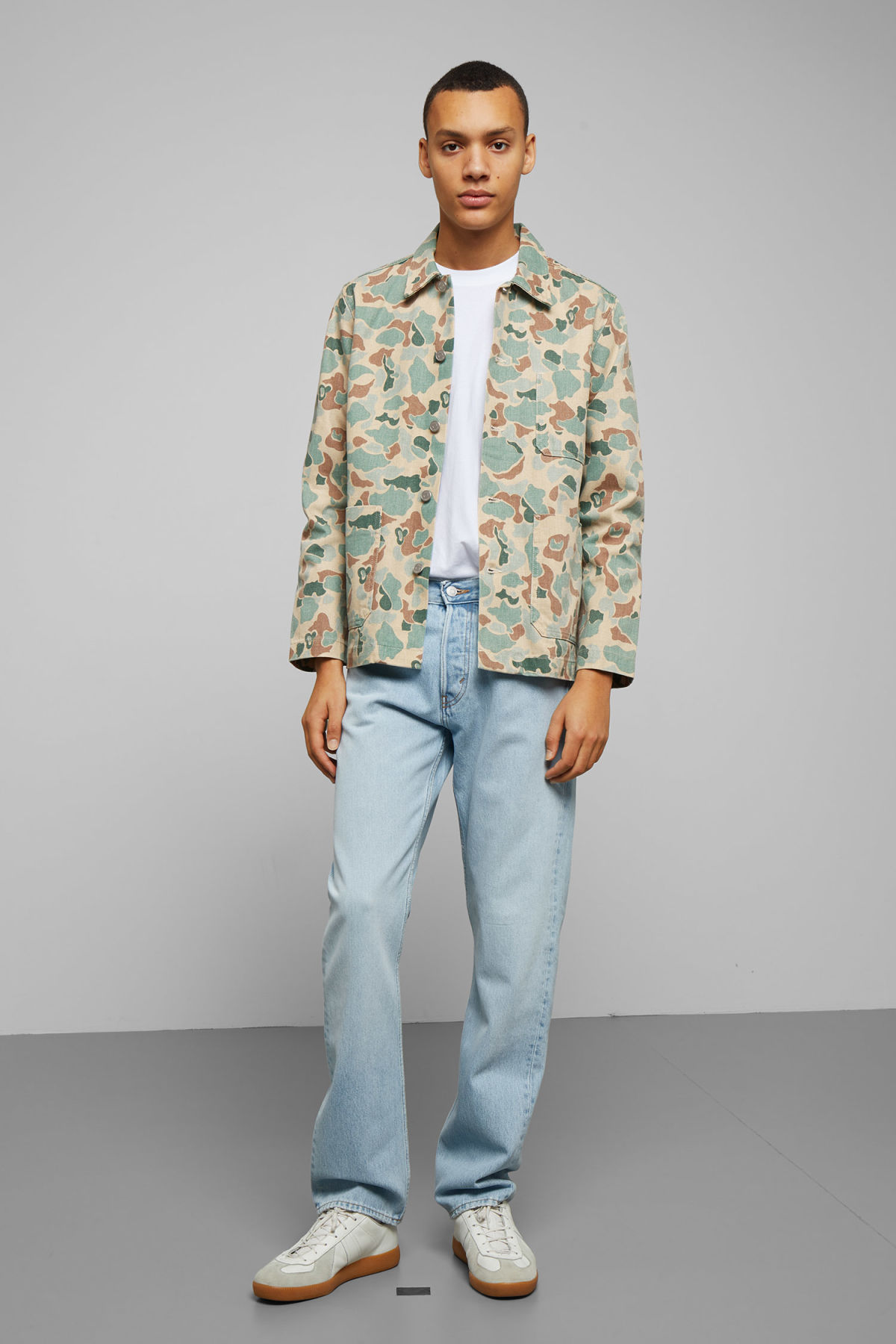 Model side image of Weekday generic cloud jacket  in white