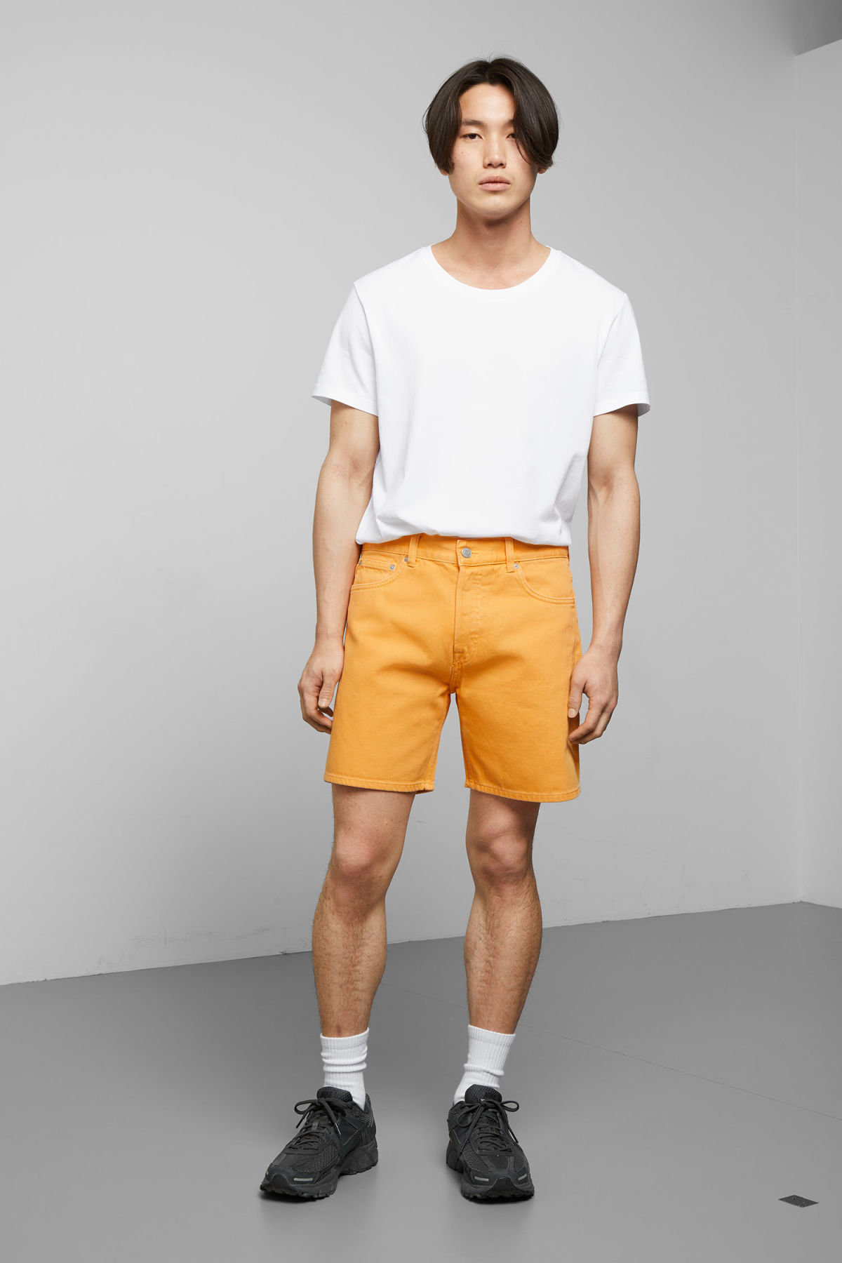Model front image of Weekday vacant yellow shorts in yellow