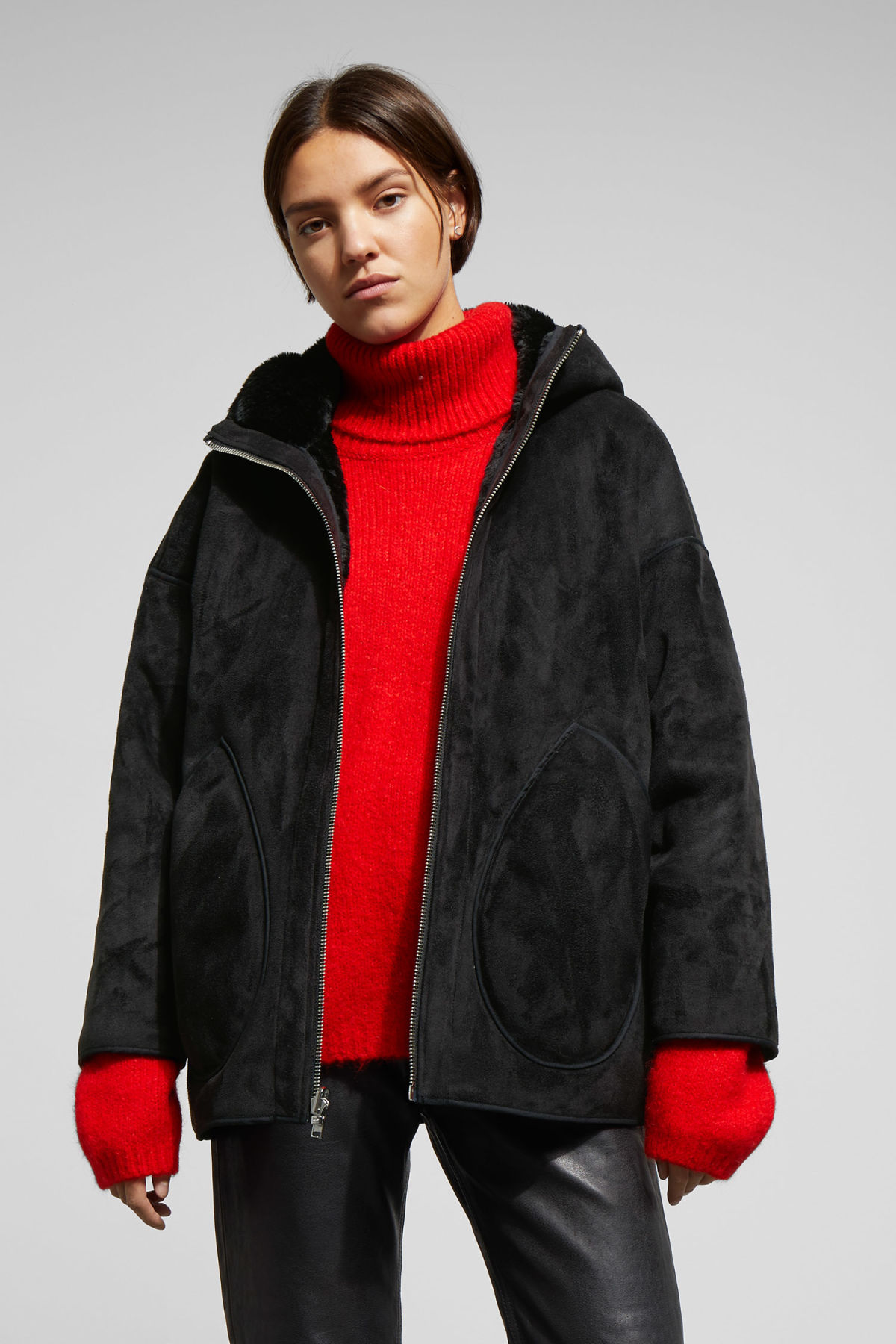 Model front image of Weekday reverse jacket in black