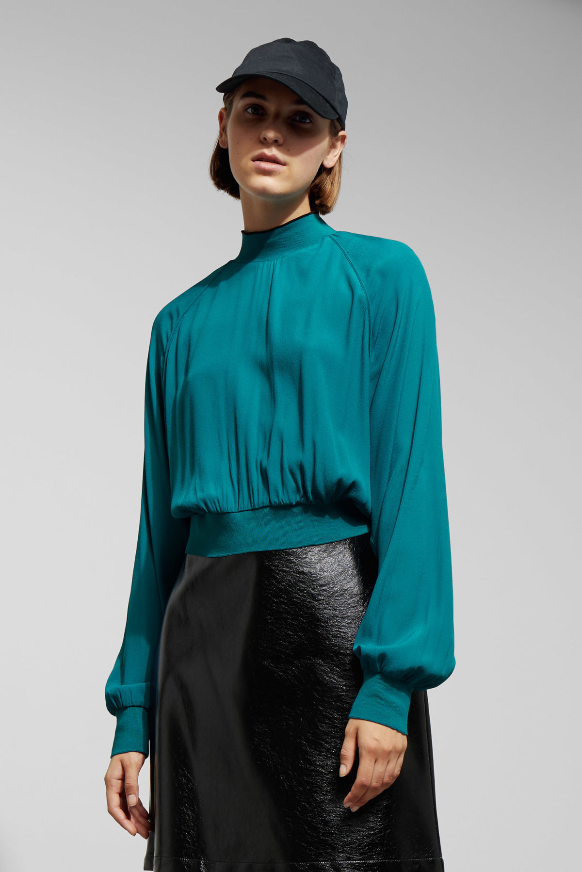 Model front image of Weekday carbon blouse in turquoise