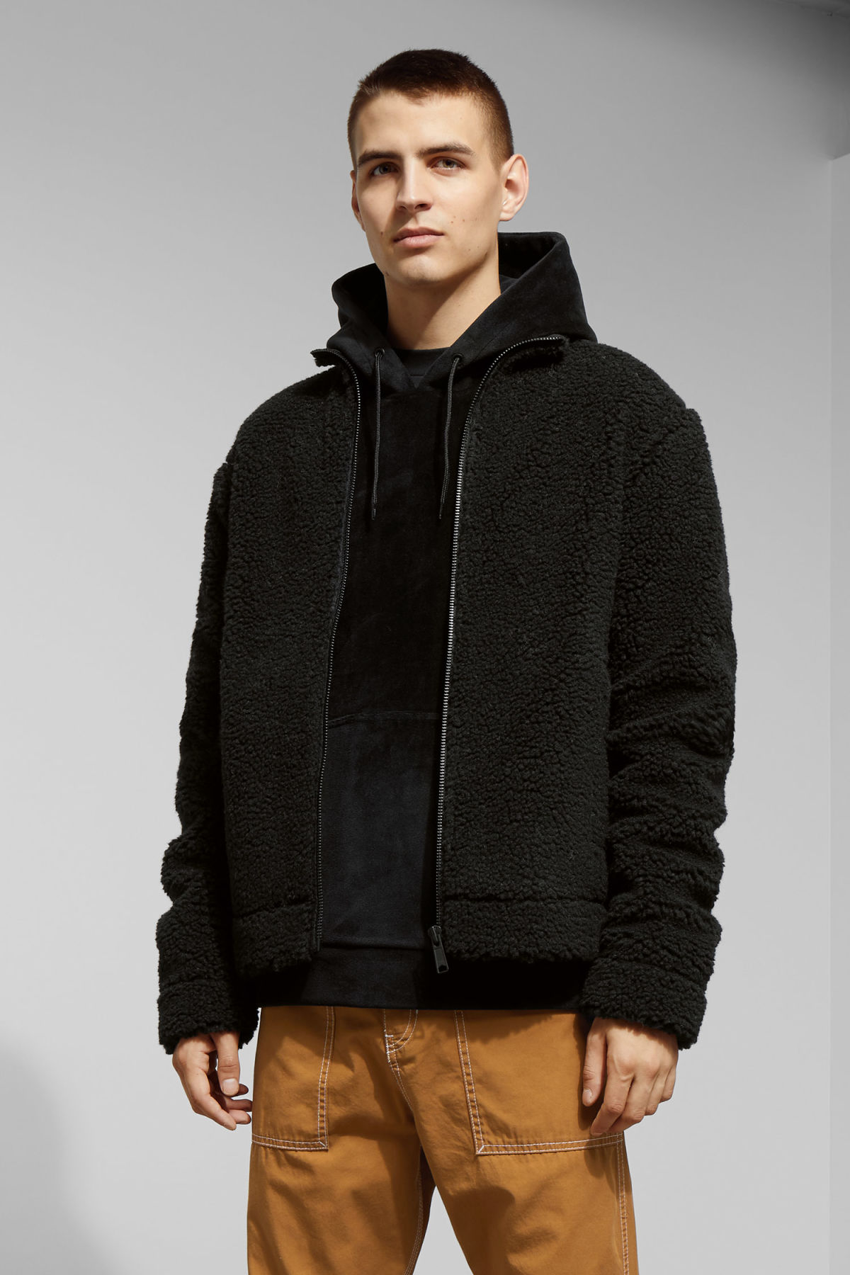 Model front image of Weekday wes pile jacket in black