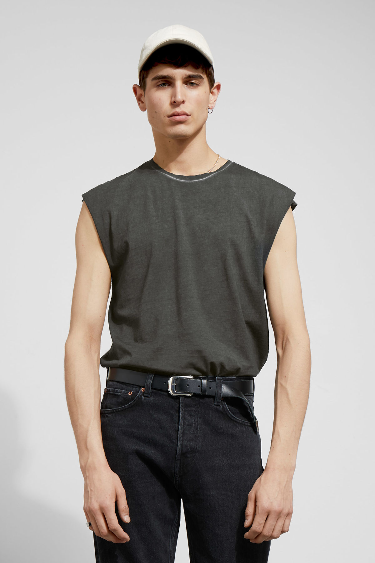 Model front image of Weekday sly t-shirt in black